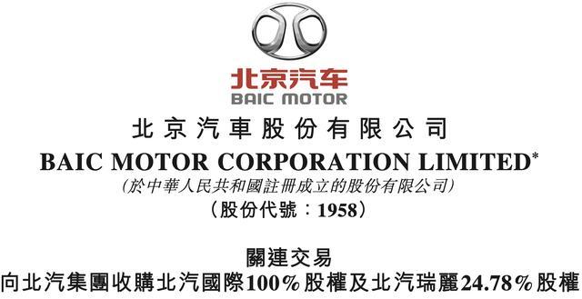 北京汽车收购北汽国际及北汽瑞丽24.78%股权