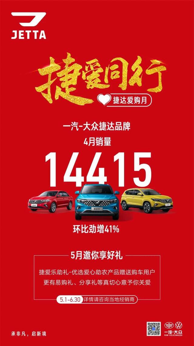 捷达4月售出超1.4万辆新车 5月开启爱购月