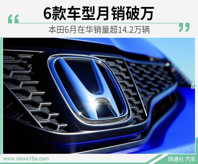 本田6月在华销量超14.2万辆 其中这款车贡献最大