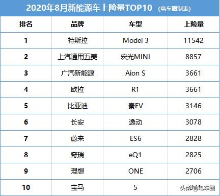 谁是最受欢迎的新能源车?8月上险量TOP10